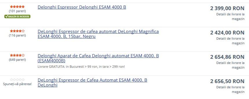 preturi-espressor-DeLonghi Caffe Magnifica ESAM4000-B